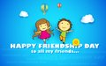 Happy friendship day illustration of friends enjoying Stock Image