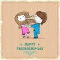 Happy friendship day illustration of friends enjoying Royalty Free Stock Photography