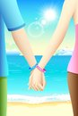 Happy friendship day illustration of pair of gripped hands of friends on the beach Stock Photos
