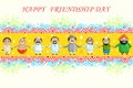 Happy friendship day vector illustration of multiracial wishing Royalty Free Stock Images