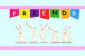 Happy friendship day vector illustration of rabbit on Royalty Free Stock Photo
