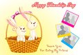 Happy friendship day vector illustration of rabbit on Stock Photos