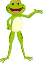 Happy frog cartoon presenting