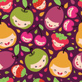 Happy fruit characters seamless pattern vector with hand drawn elements Royalty Free Stock Image