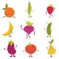 Happy fruit and vegetables characters Stock Photo