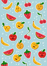 Happy fruits pattern background Royalty Free Stock Photo