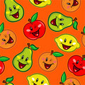 Happy Fruits Seamless Pattern Stock Images