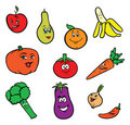 Happy fruits and vegetables Stock Photo
