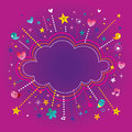 Happy fun bursts explosion cartoon cloud shape banner frame Royalty Free Stock Photo