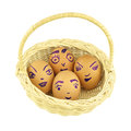 Happy and fun emoticons eggshell in basket isolated on empty with white background Royalty Free Stock Image