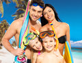Happy fun family with two children at tropical beach Royalty Free Stock Photo