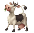 Happy funny cartoon cow chewing grass Royalty Free Stock Photo