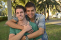 Happy gay couple outdoors Royalty Free Stock Photo