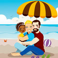 Happy gay family couple enjoying a day on the beach with their adopted black baby girl Royalty Free Stock Image