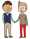 Happy gay homosexual couple cartoon vector illustration of men Stock Photos