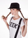 Happy geek nerdy girl with t shirt Royalty Free Stock Photos