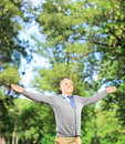 Happy gentleman spreading his arms and looking upwards in a park mature Stock Images