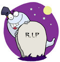 Happy ghost behind the tombstone Stock Photography