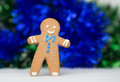 Happy gingerbread man on blue Royalty Free Stock Photo
