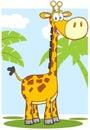 Happy giraffe cartoon character with background mascot Royalty Free Stock Photos