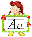 Happy girl and alphabet flashcard for letter A