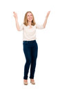 Happy girl with arms raised isolated on white background Stock Images