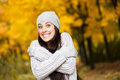 Happy girl background autumn trees Royalty Free Stock Photo