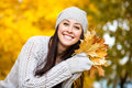 Happy girl background autumn trees Royalty Free Stock Photography