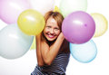 Happy girl with balloons portrait of beautiful Stock Image