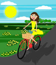 Happy girl on the bicycle. Vector. Flat Design.