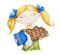Šťastné dievča veľký čokoláda