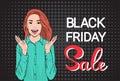 Happy Girl Big Sale Black Friday Shopping Banner Royalty Free Stock Photo