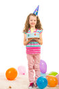 Happy girl birthday five years made and celebrate with cake and balloons Stock Photography