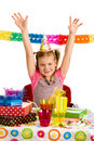 Happy girl on birthday party Stock Photography