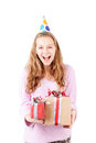 Happy girl birthday selebration isolated Royalty Free Stock Photo