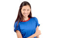 Happy girl with blue t shirt signing thumbs up woman smiling isolated on white Royalty Free Stock Photo