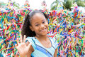 Happy girl at the Bonfim Church in Salvador, Bahia in Brazil Royalty Free Stock Photo