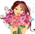 Happy girl with a bouquet of roses