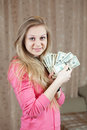 Happy  girl with bundles of US dollars Stock Photos