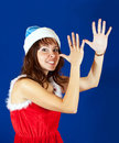 Happy girl christmas costume Royalty Free Stock Images