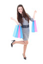 Happy girl in dress with shopping bags Stock Image
