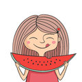Happy girl eats sweet watermelon illustration of and lick ones lips Royalty Free Stock Images