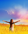 Happy girl enjoying the happiness on sunny meadow free enjoys and freedom nature Stock Photos