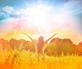 Happy girl enjoying the happiness on sunny meadow Royalty Free Stock Photo