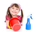 Happy girl with equipment for cleaning the house. isolated on white Royalty Free Stock Photo