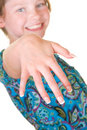 Happy girl with fake nails Royalty Free Stock Photo