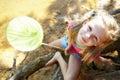 Happy girl fishing at lake Royalty Free Stock Photo
