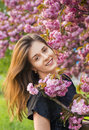 Happy girl in the flowers of sakura portrait beautiful Stock Image