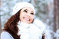 Happy girl in a forest winter Stock Photography
