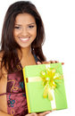 Happy girl with a gift Stock Photos
